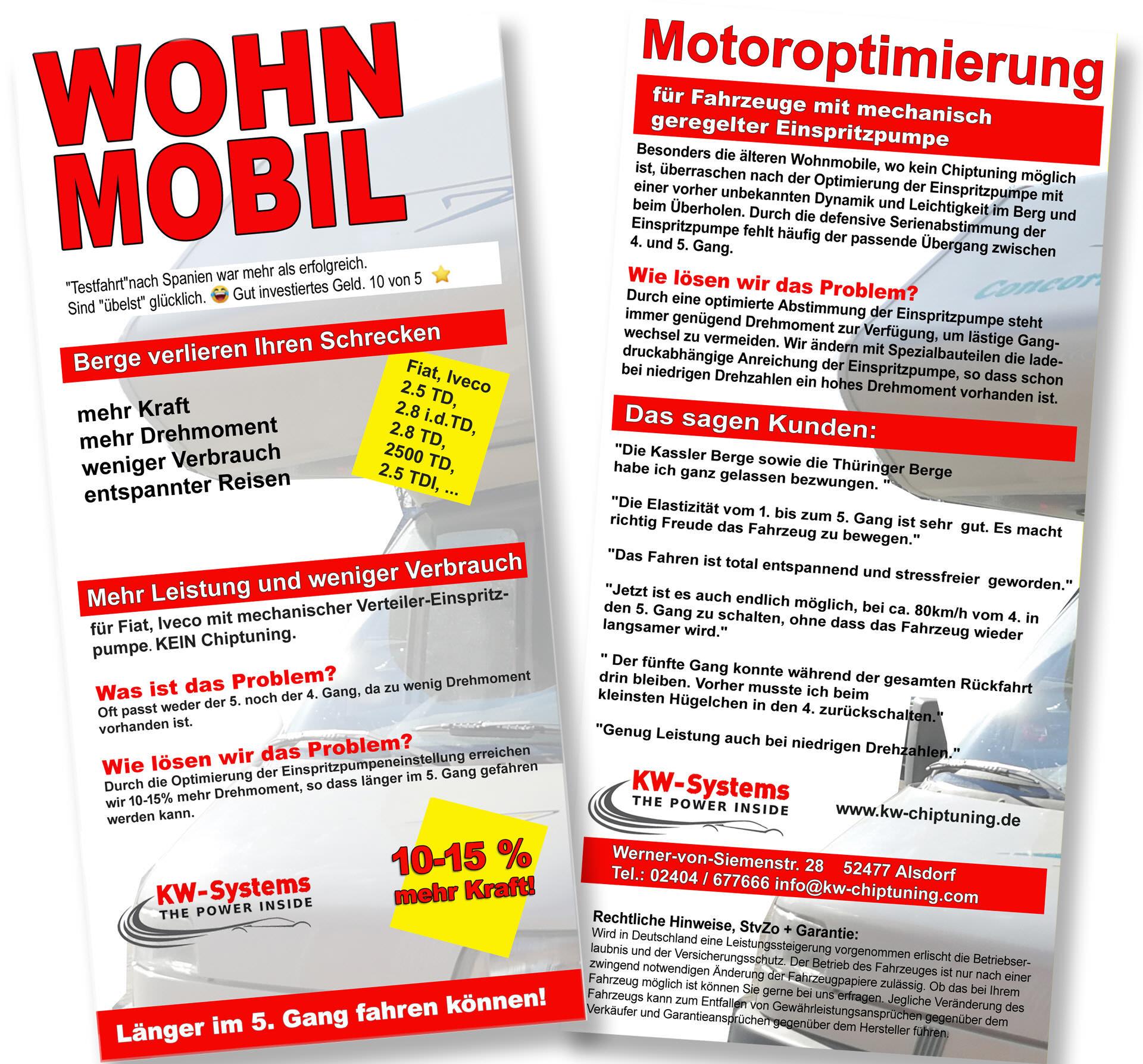 Verbrauchsoptimierung Fiat Iveco Wohnmobil