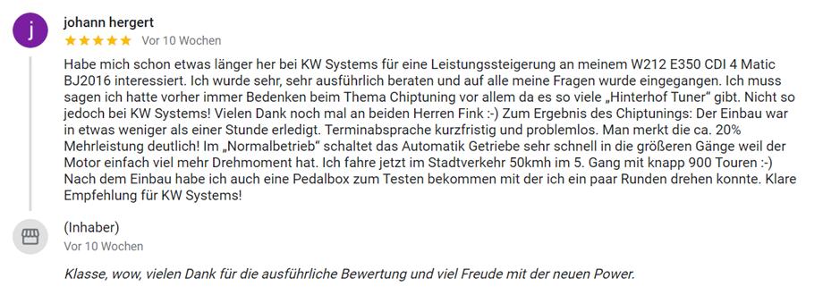 Beste Erfahrungen mit KW-Systems