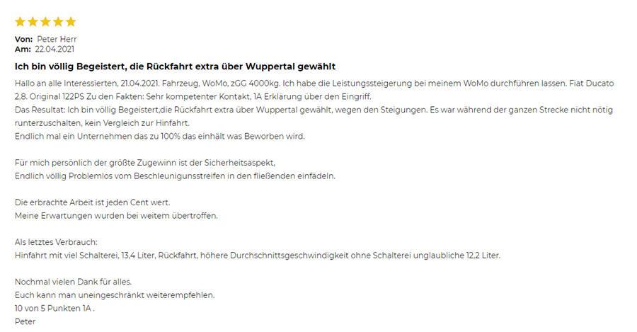 Beste Erfahrungen mit KW-Systems Optimierung Ducato 2.8 122 PS