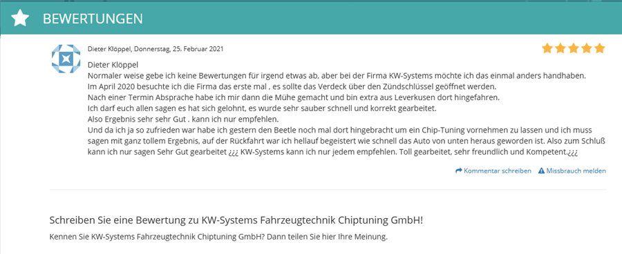 KW-Systems Bwertung bei Cylex