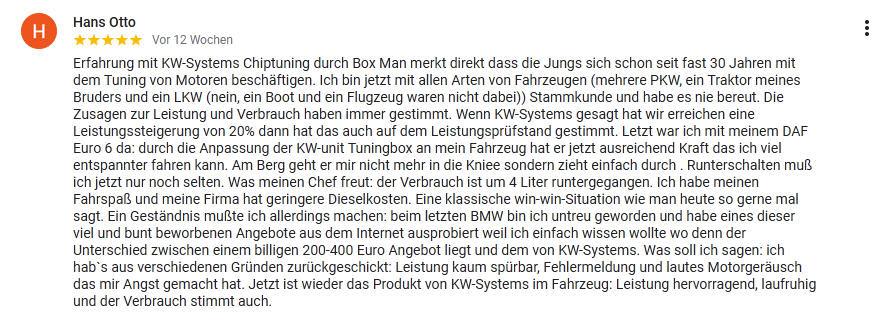 Erfahrung mit KW-Systems LKW Tuning MAN